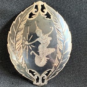 Siam Thai Goddess Sterling Silver Large Brooch Pin